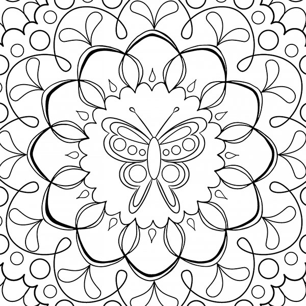 Butterfly Mandala Enlightened Coloring