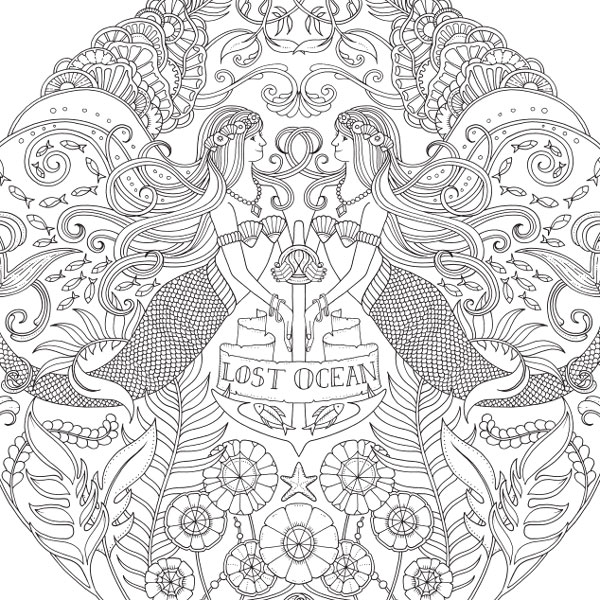 Lost Ocean Emblem Of The Sea Download Asample Coloring Page From An Inky Adventure And Book By Johanna Basford