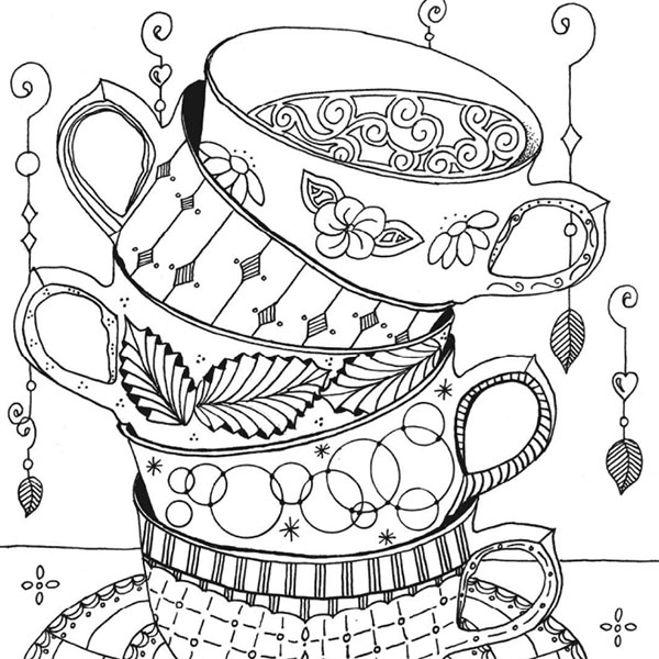 Stacked Teacups Enlightened Coloring